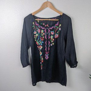 Johnny Was Floral Embroidered Blouse Black XS